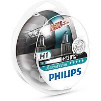 Лампа галогенная Philips H1 X-treme VISION +130%, 3700K, 2шт/блистер, 12258XV+S2