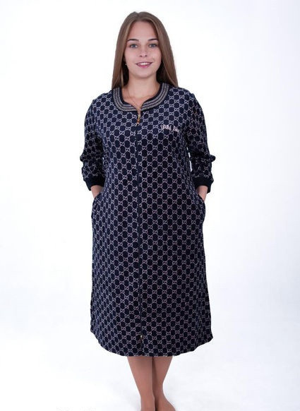 Велюровый халат женский Клетки
