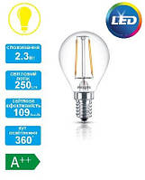 Лампа светодиодная декоративная Philips LED Fila ND E14 2.3-25W 2700K 230V P45 1CT APR, 929001180207