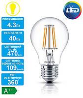 Лампа светодиодная декоративная Philips LED Fila ND E27 4.3-50W 2700K 230V A60 1CT APR, 929001180407