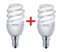 Комплект ламп энергосберегающих Philips E14 8W 220-240V WW Tornado T2 mini (1+1), 8717943885299
