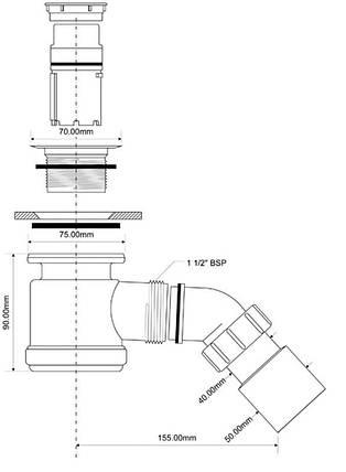 Сифон для душевых поддонов ТМ McAlpine HC26SSNB, фото 2