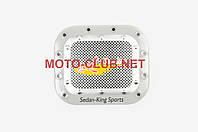"""Наклейка на мототехнику   на крышку бака   """"SEDAN-KING SPORTS""""   (13х13см, желтая)   (#1625)"""