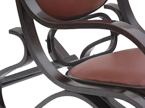 Кресло-качалка темная,коричневая,кожа, фото 3