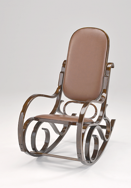 Кресло-качалка PBT Group темная,коричневая,кожа