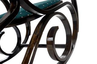 Кресло-качалка темная,зеленая ткань точки, фото 3