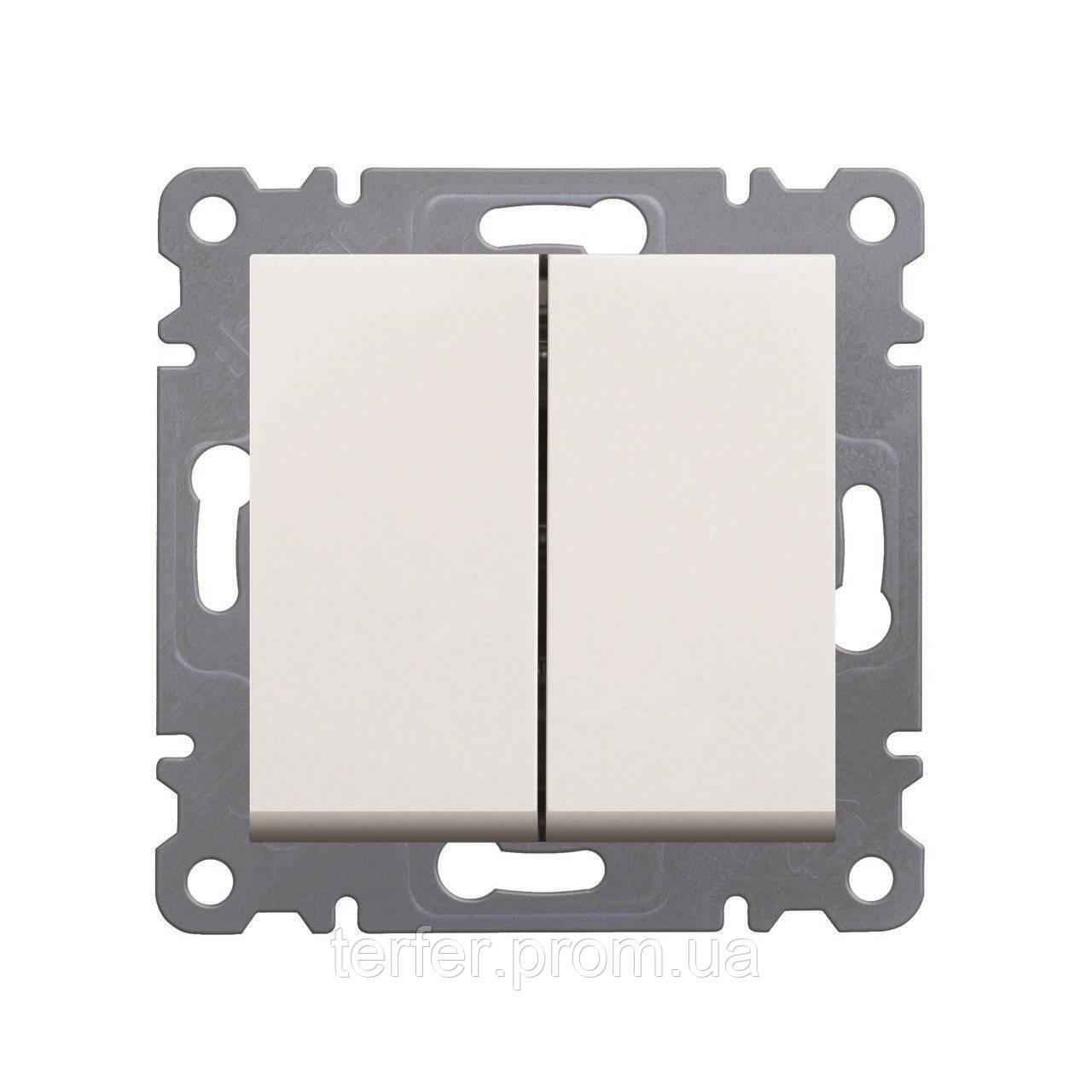 Выключатель 2-клавишный Lumina-2, белый, 10АХ/230В