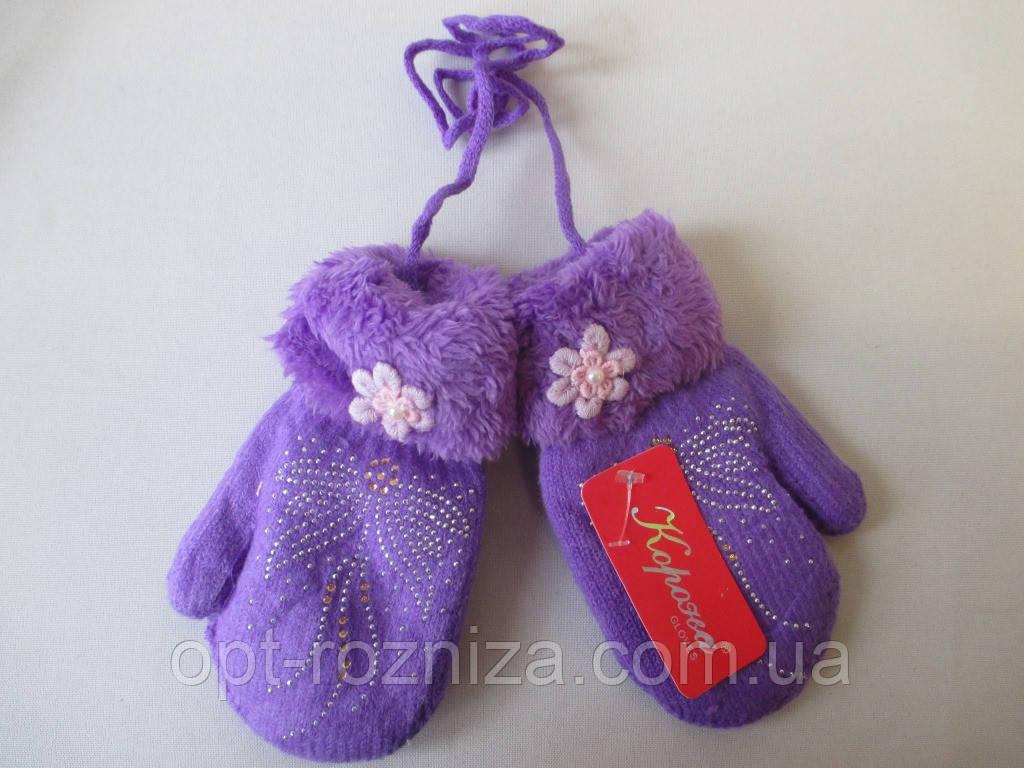 Двойные зимние варежки для девочек.