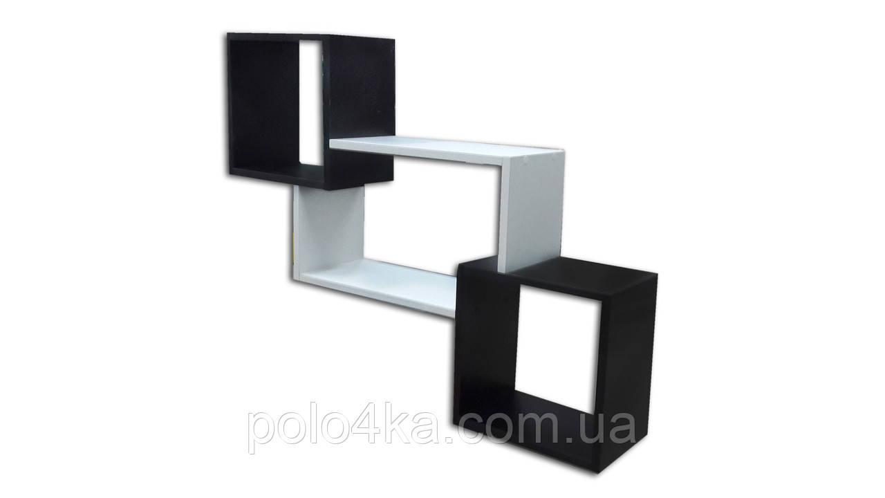 Полочка настенная Тройная ДСП (черный/белый/черный)