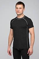 Термофутболка мужская KIFA реглан (ФМО-615) Черная, серая строчка, фото 1