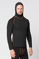 Термоджемпер мужской KIFA с капюшоном и змейкой (ДМО-65 Ш) Чернаый, оранжевая строчка