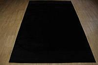 Черный тибетский ковер из шерсти и бамбукового шелка