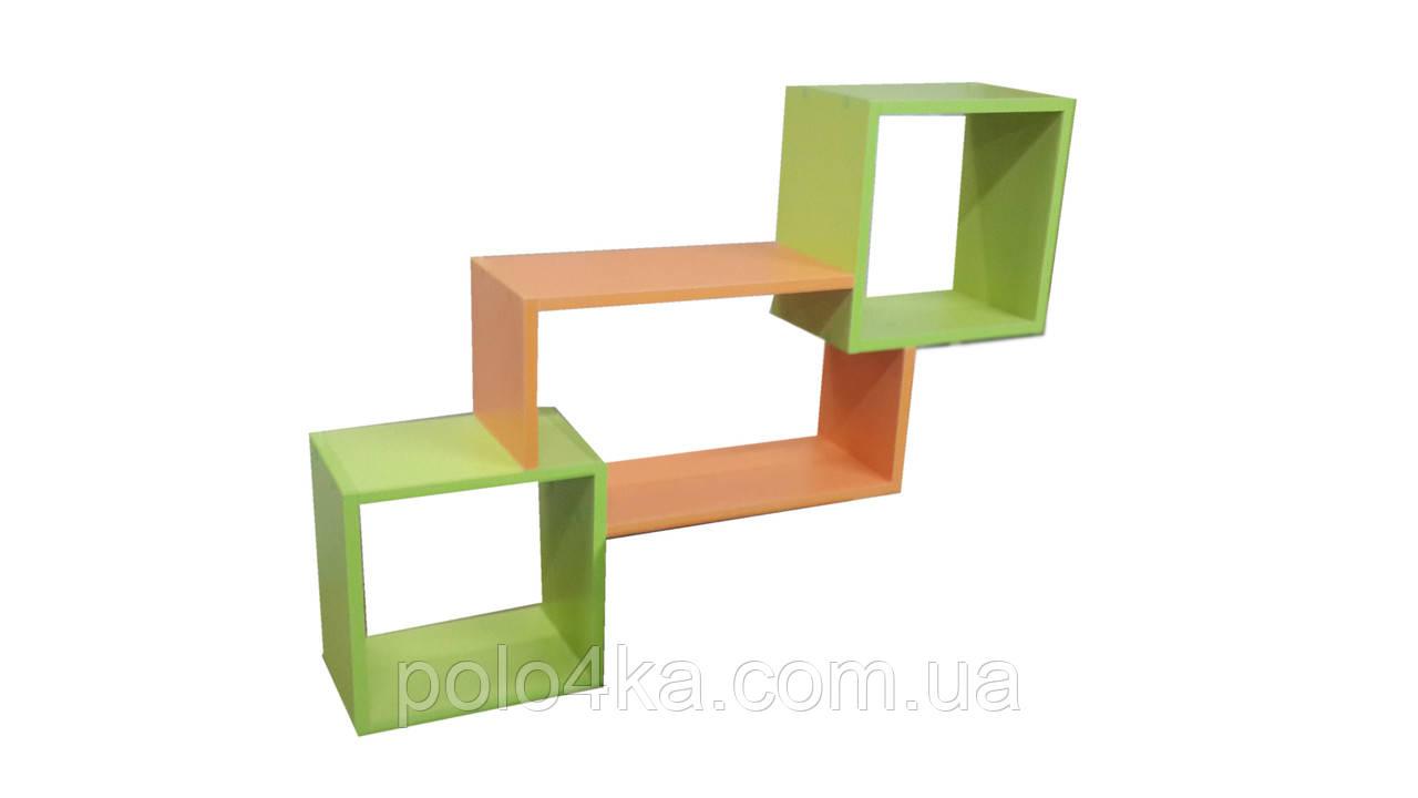 Полочка настенная Тройная ДСП (лайм/оранж/лайм)