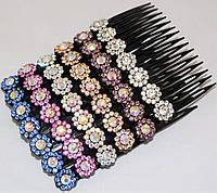 """Гребень для волос """"цветные камни"""" (6 шт)"""