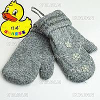 Шерстяные двухслойные варежки на девочку, с камушками Ducky DV06-1-R