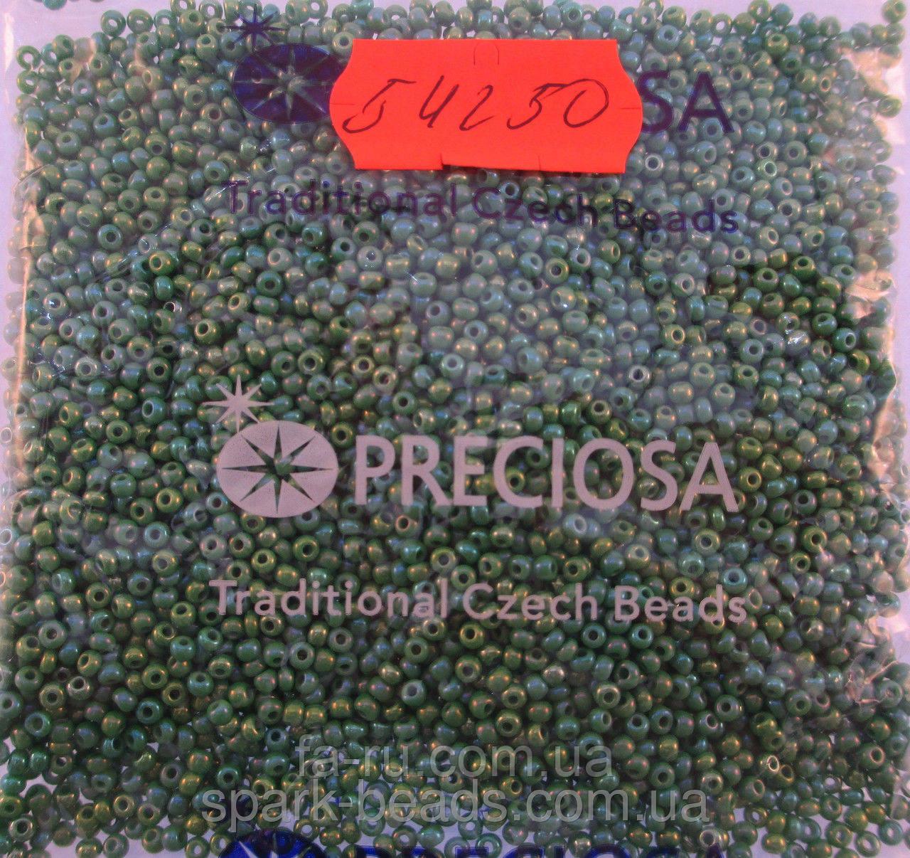 Бисер 10/0, цвет - зеленый радужный, №54250