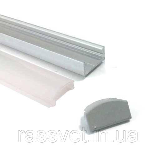 Комплект профиль алюминиевый 2м+линза 2м+2 заглушки 2000*16*7