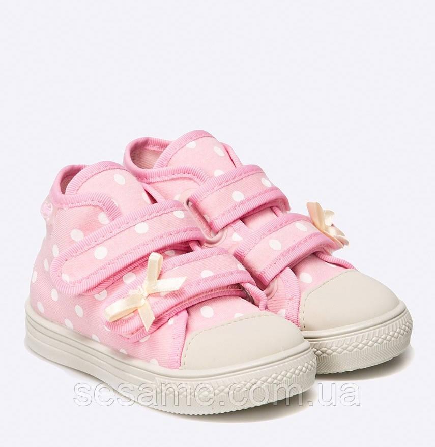 649f8daff85c Детские кеды розовые в горошек на липучках для девочки - Businka-Dress  boutique kids-