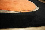 Красивий чорно помаранчевий вовняний килим на підлогу, фото 2