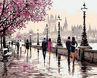 Картины по номерам 50×65 см. Цветущая набережная