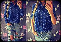 Рубашка Джинс Турция Голубая Джинсовка с воротником и милыми кармашками Блуза Коттоновая