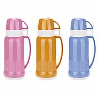 Термос 1000мл со стеклянной колбой и 2 пластиковыми чашками(розовый,жёлтый,голубой) Kamille 2082