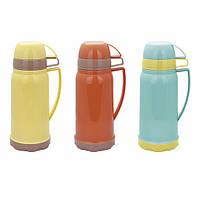 Термос 1000мл со стеклянной колбой и 2 пластиковыми чашками (красный,жёлтый,голубой) Kamille 2074