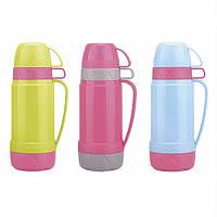Термос 1000мл со стеклянной колбой и 2 пластиковыми чашками(розовый с салатовым,серым,голубым) Kamille 2077