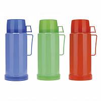 Термос 1000мл со стеклянной колбой и пластиковой чашкой (синий,зеленый, красный) Kamille 2072