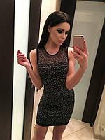 """Стильное черное платье """" Снег """" с россыпью камней. Арт-8931/74"""