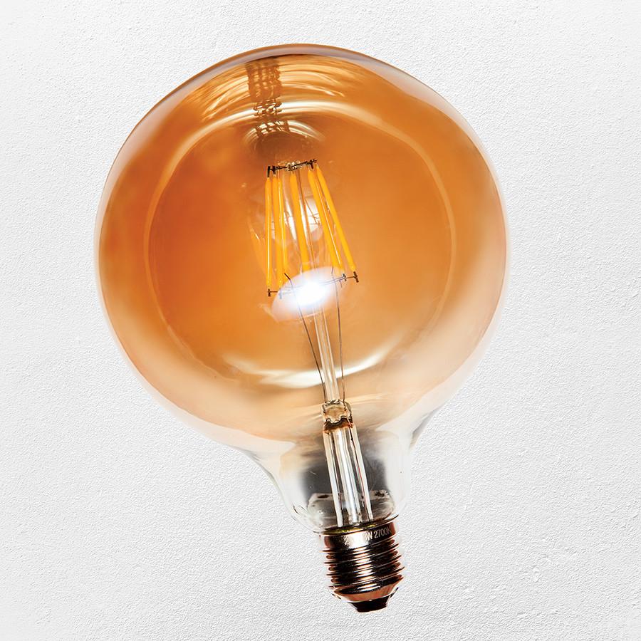 Лампа Эдисона LED G125,( сапфировой нитью) 6W Amber