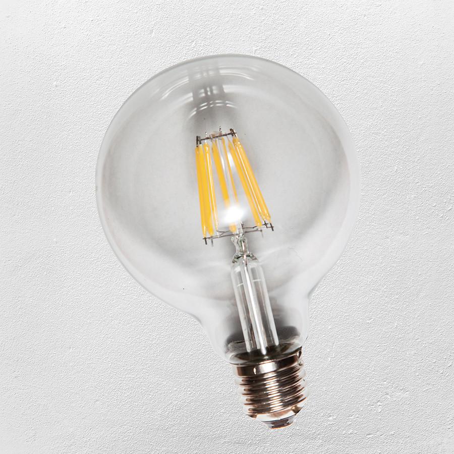 Лампочка Эдисона G95, ( сапфировой нитью) 8W Clean