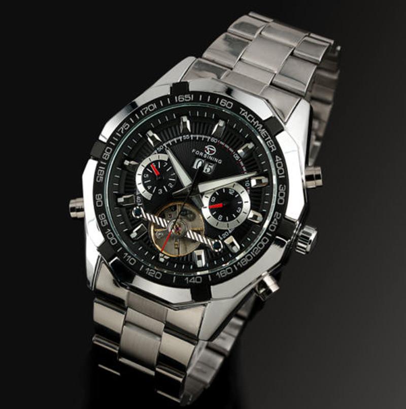 6066cf82ffc9 Механические мужские наручные часы с автоподзаводом Forsining, черный  циферблат - Планета здоровья интернет-магазин
