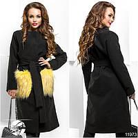 Осеннее красивое пальто кашемировое с меховыми карманами