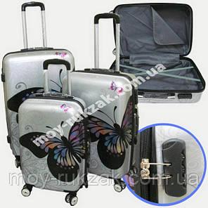 """Набор чемоданов 2+1 в подарок, Поликарбонат """"Бабочка-2"""", фото 2"""