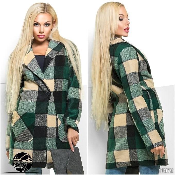 Осеннее модное кашемировое пальто в клетку