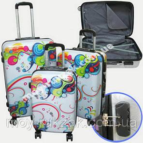 """Набор чемоданов 2+1 в подарок, Поликарбонат """"Волна"""", фото 2"""