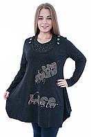 Женская туника БАТАЛ темно-серого цвета 8021, размер 52, фото 1