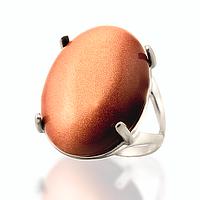 Авантюрин золотой песок, серебро 925, кольцо, 111КА