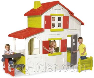 Будинок двоповерховий з кухнею-барбекю, дзвінком, 250x157x209 см, 3+