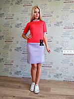 """Молодежное двухцветное платье """" К """". Арт-8935/76"""