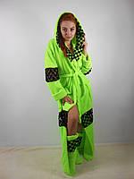 Домашний яркий зелёный шикарный махровый женский комплект: халат+сапожки для дома. Арт-4800