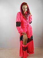 Домашний яркий коралловый шикарный махровый женский комплект: халат+сапожки для дома. Арт-4800