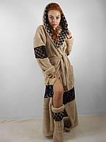 Домашний яркий пепельный шикарный махровый женский комплект: халат+сапожки для дома. Арт-4800