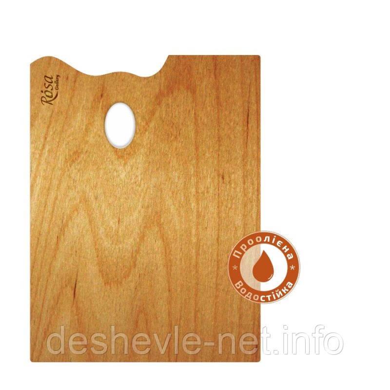 Палітра дерев'яна, прямокутна, ергономічна, промаслена, 30х40см, ROSA Gallery