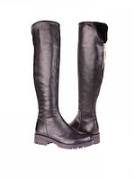 Сапоги (ботфорты) женские кожаные черные на низком ходу