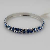 Элегантный женский металлический браслет на руку с камнями синего и серебристого цвета