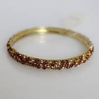 Элегантный женский металлический браслет на руку с камнями золотистого и коричневого цвета