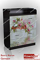 Комод пеленатор цвет Венге Темный + Орхидеи, фото 1