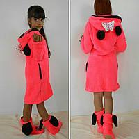 """Семейный домашний коралловый махровый комплект """"Мама + дочка"""": халат+сапожки для дома. Арт-4803"""